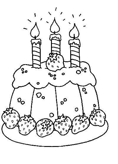 Coloriage et dessins gratuits Gâteau d'Anniversaire avec des fraises à imprimer