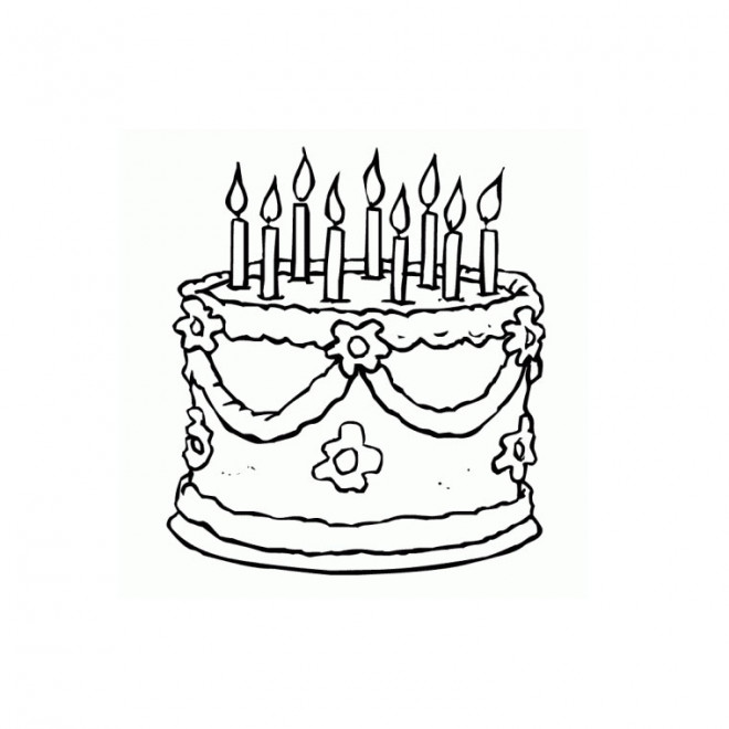 Coloriage et dessins gratuits Gâteau d'Anniversaire décoré avec des bougies à imprimer