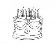 Coloriage Gâteau d'Anniversaire en couleur