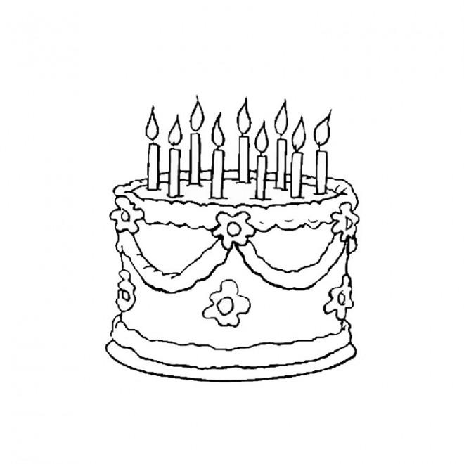 Coloriage g teau d 39 anniversaire en couleur dessin gratuit - Dessin de gateau d anniversaire ...