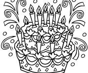 Coloriage Gâteau d'anniversaire en noir et blanc
