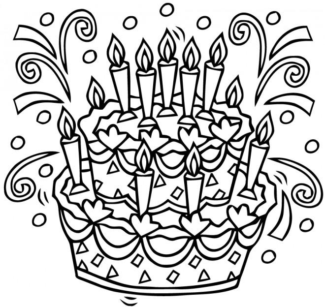 Coloriage g teau d 39 anniversaire en noir et blanc - Dessin pour anniversaire ...