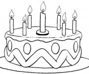 Coloriage Gâteau d'anniversaire facile