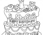 Coloriage et dessins gratuit Gâteau d'Anniversaire magnifique à imprimer
