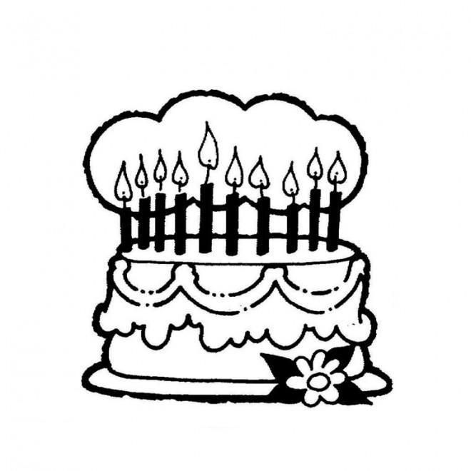 Coloriage et dessins gratuits Gâteau d'Anniversaire maternelle à imprimer