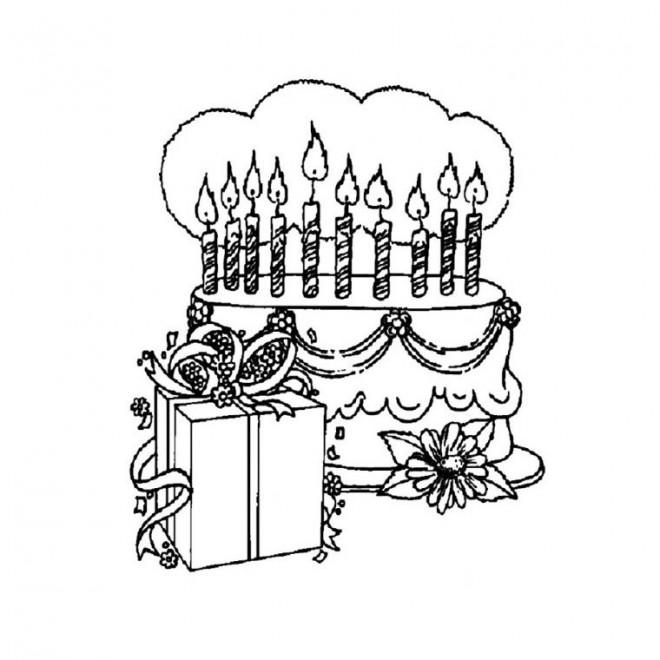 Coloriage et dessins gratuits Gâteau d'Anniversaire stylisé à imprimer