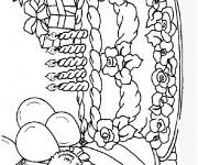 Coloriage Gâteau et Cadeaux d'Anniversaire