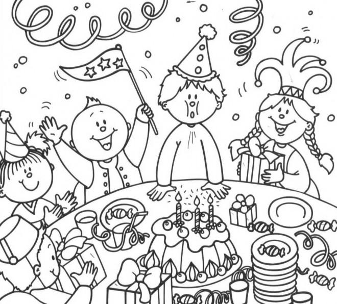 Coloriage et dessins gratuits La Joie d'Anniversaire à imprimer