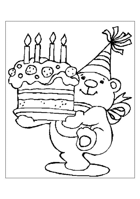 Coloriage et dessins gratuits Ours apporte le gâteau d'anniversaire à imprimer