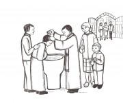 Coloriage Baptême au crayon