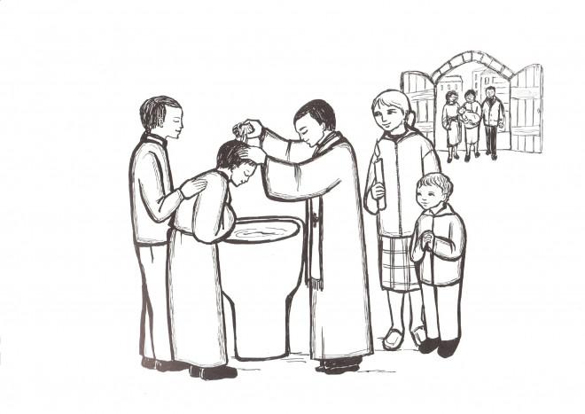 Coloriage Baptême Au Crayon Dessin Gratuit à Imprimer