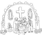 Coloriage et dessins gratuit Baptême catholique à imprimer