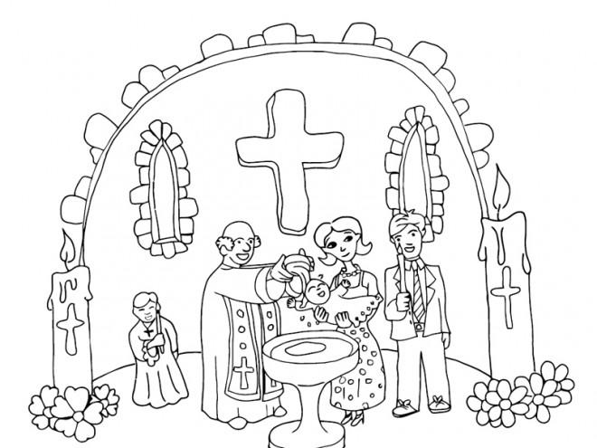 Coloriage et dessins gratuits Baptême catholique à imprimer