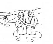 Coloriage Baptême de Jésus dans L'eau