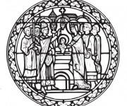 Coloriage Baptême de Jésus  décoration d'église