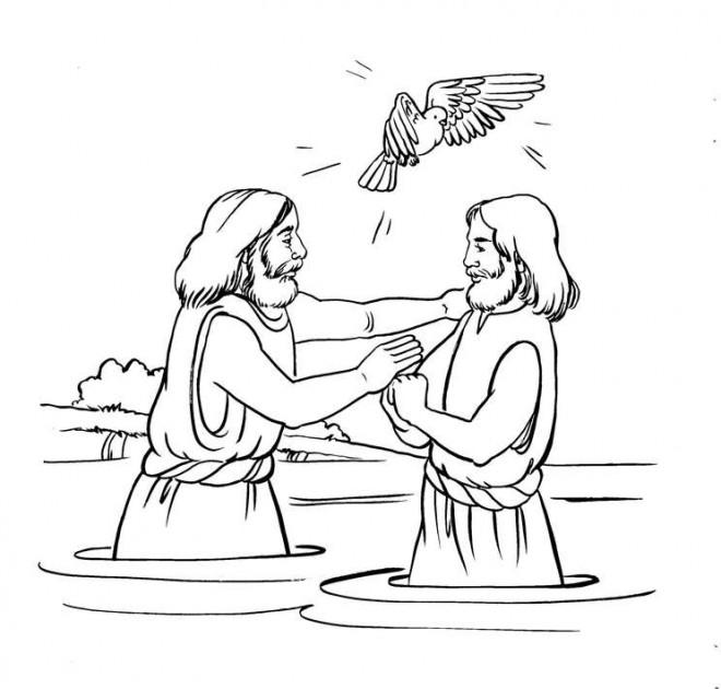 Coloriage et dessins gratuits Baptême de Jésus et La Colombe à imprimer