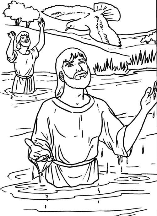 Coloriage et dessins gratuits Baptême de Jésus Jourdain à imprimer