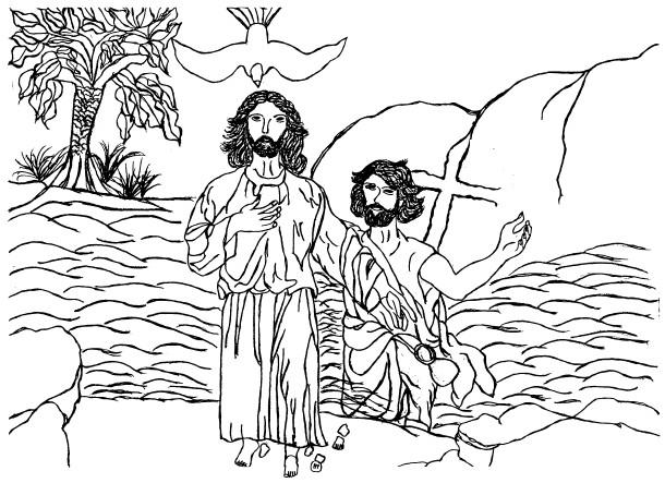 Coloriage et dessins gratuits Baptême de Jésus par Saint Jean Baptiste à imprimer