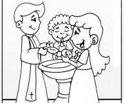 Coloriage Baptême en couleur