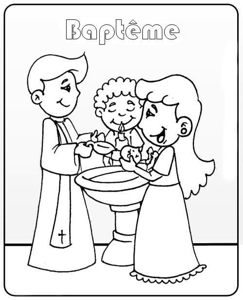 Coloriage Baptême En Couleur Dessin Gratuit à Imprimer