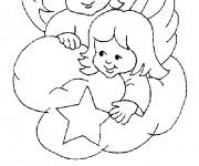 Coloriage Baptême et Les Anges