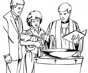 Coloriage Baptême garçon