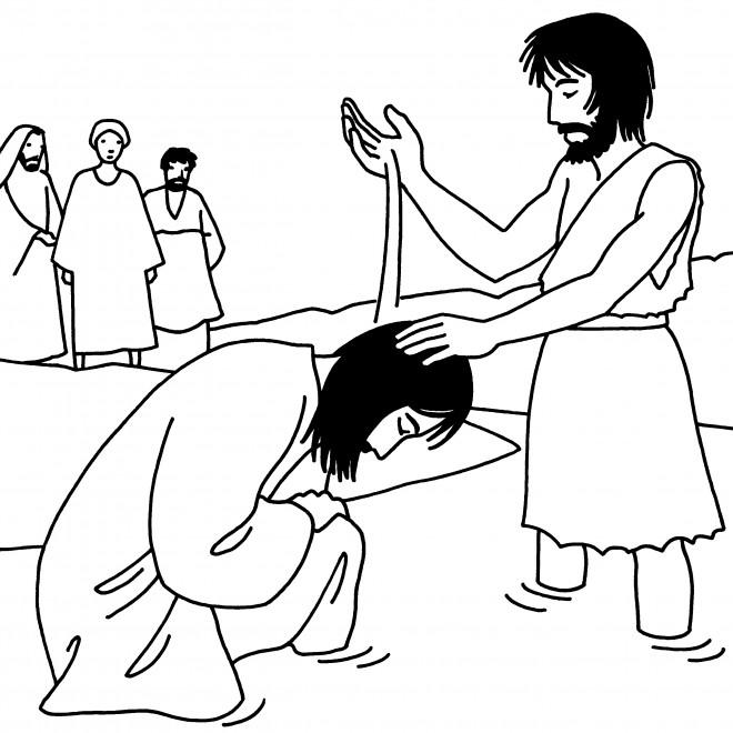 Coloriage et dessins gratuits Baptême Jésus à télécharger à imprimer