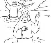 Coloriage Baptême Jésus et Jean Baptiste