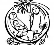Coloriage Baptême Jésus et Marie