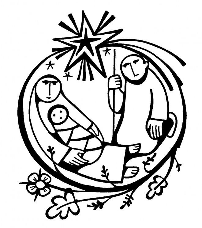 Coloriage et dessins gratuits Baptême Jésus et Marie à imprimer