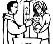 Coloriage Baptême religieux à découper
