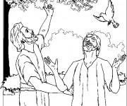Coloriage Jésus et le Pigeon
