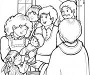 Coloriage La Famille et le Baptême à L'église