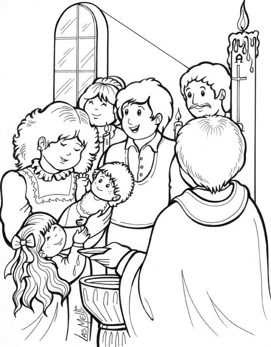 Coloriage et dessins gratuits La Famille et le Baptême à L'église à imprimer