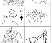 Coloriage Le rituel d'un baptême
