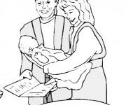 Coloriage Les Parents  et le Baptême de Bébé