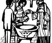 Coloriage Les Rituels de Baptême en noir