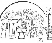 Coloriage Rituel religieux de Baptême de petit