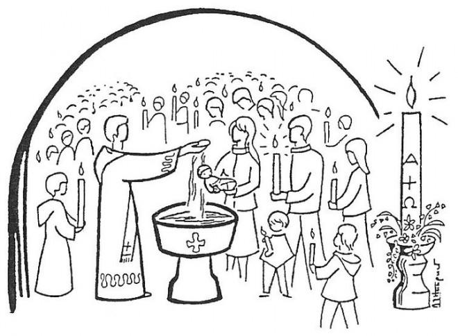 Coloriage et dessins gratuits Rituel religieux de Baptême de petit à imprimer