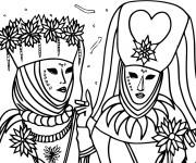 Coloriage et dessins gratuit Carnaval de Venise à imprimer