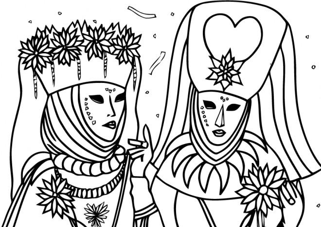 Coloriage Carnaval De Venise Dessin Gratuit à Imprimer