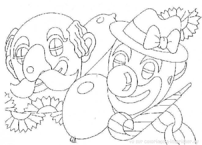 Coloriage et dessins gratuits Carnaval en noir et blanc à imprimer