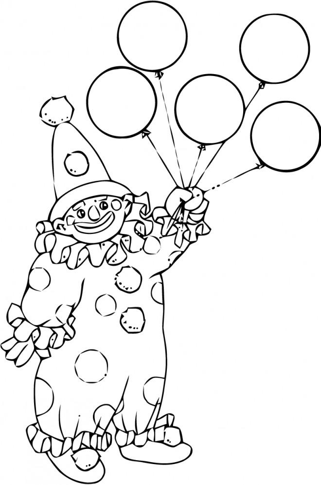Coloriage et dessins gratuits Clown en noir et blanc à imprimer