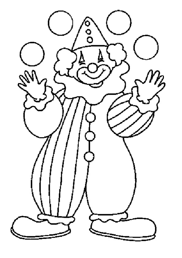Coloriage Clown facile dessin gratuit à imprimer