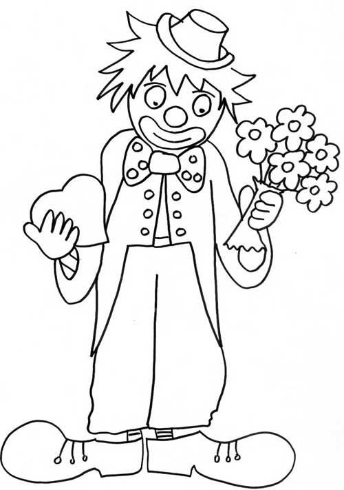Coloriage Clown Adulte.Coloriage Clown Portant Des Fleurs Dessin Gratuit A Imprimer