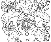 Coloriage les clowns acrobates