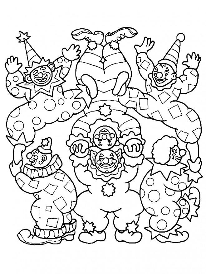 Coloriage les clowns acrobates dessin gratuit à imprimer
