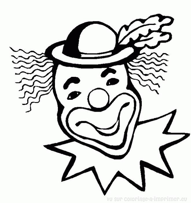 Coloriage et dessins gratuits Tête de Clown qui rigole à imprimer