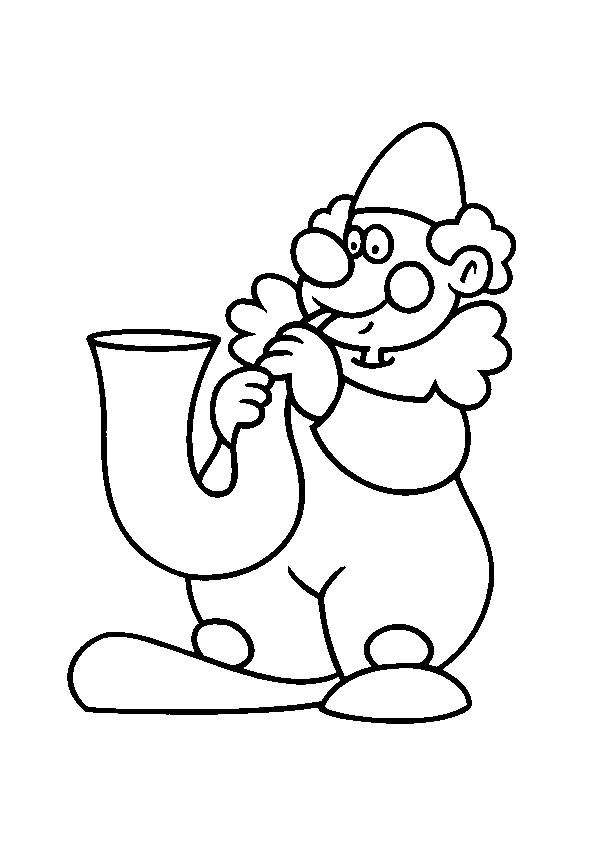 Coloriage un clown et la trompette dessin gratuit imprimer - Dessiner un clown ...