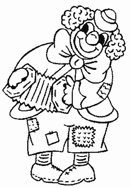 Coloriage Un clown jouant de l'accordéon dessin gratuit à imprimer